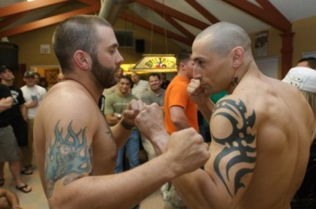 Ninja Ricardo (right) during the weigh-ins before his fight at Lonestar Beatdown. Ricardo won via anaconda choke in the 1st round.